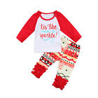 US Stock Adorable Infant Baby Girls Tops T shirt Pants Clothes Outfits Set 0 24M