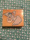 STORK FLYING WITH A BABY IN A BLANKET Rubber Stamp by GREENBRIER