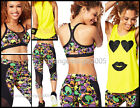 ZUMBA 3Pc.SET! Zmoji Mesh Capri Leggings + For Your Eyes Tank Top Tee + Mesh Bra