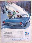 Vintage 1961 Oldsmobile Ninety Eight 98 Ad Roomy As All Outdoors Snow Scene