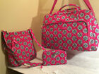 Vera Bradley Pink Swirls Flowers 3 Pc Set Triple Zip Hipster TurnlockWeekender