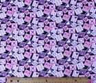 SNUGGLE FLANNELHEARTS  LOVE STAMPS  PINK  PURPLE on BLACK Cotton  NEW  BTY