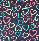 SNUGGLE FLANNEL COLORFUL HEARTS PINK BLUEs on BLACK 100 Cotton Fabric BTY