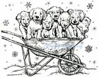 CHRISTMAS WHEELBARROW PUPPY DOGS Wood Mounted Rubber Stamp NORTHWOODS P10323 New