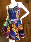 Versace Jeans Couture 1992 Cotton Barocco Dress with Gold Trim