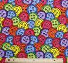 SNUGGLE FLANNEL  COLORFUL BIG BUTTONS 100 Cotton Fabric NEW  BTY