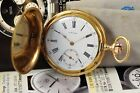 Antique Longines Pocket Watch 14K Solid Gold Full Hunter Case 50mm 1911´s Rare