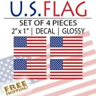 4pack SMALL 2 American Flag bumper sticker decal military tactical USA VINYL