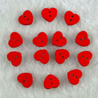 100Pcs Red Heart Wood Buttons Sewing Scrapbooking Cardmaking Craft DIY 13x15MM