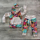 US Stock Newborn Baby Girl Kids Floral Hooded Top Pants 2Pcs Outfits Set Clothes