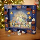 Kurt Adler J3767 Wooden Nativity Advent Calendar 24 Magnetic Pieces Figures