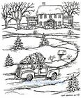 BRINGING HOME CHRISTMAS TREE SCENE Wood Mounted Rubber Stamp NORTHWOODS P10349