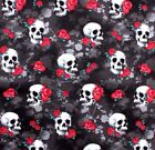 SNUGGLE FLANNEL SKULLS  RED ROSES on BLACK100 Cotton Fabric NEW BTY