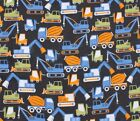 SNUGGLE FLANNEL  CONSTRUCTION TRUCKSCRANESVEHICLES 100 Cotton Fabric BTY