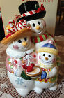 RARE FITZ AND FLOYD FROSTY FRIENDS SNOWMAN TRIO COOKIE JAR VGC IN BOX