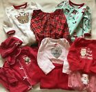 Baby Girl 6 9 Months Infant Winter First Christmas Lot Sleeper PJs Outfits