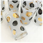 VTG MCM 8 Vintage LIBBEY Mid Century Frosted Black Gold COIN Tall Glasses Retro