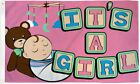 10 x ITS A GIRL flag 3x5 ft poly baby shower pink birth