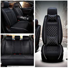 PU Leather Breathable 5 seat Car Front Rear Seat Cover Cushion w Pillow Full Set