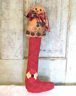 Grubby Primitive Cutter Quilt Snowman Christmas Doll in long Stocking LG 18