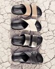 Worn once Vince Orson black leather cross strap sandal slide 195 size 9 birks