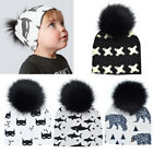 Baby Infant Cotton Hat Elastic Beanie Toque Pom Beanie With Faux Fur Kids Hat