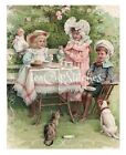 Vintage Victorian Children Tea Party Doll Pink Roses FABRIC BLOCK Dog Cat 199