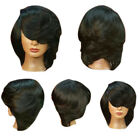 Womens Short Side Bang Straight Flip Feathered Bob Synthetic Wigs Stacked Bob