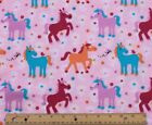SNUGGLE FLANNEL COLORFUL PONIES PONY on PASTEL PINK 100 Cotton Fabric BTY