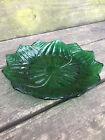 vintage ANCHOR HOCKING forest green GLASS leaf and blossom PLATE glassware