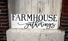 Large Farm House Gatherings Rustic Kitchen Fixer Upper Style White Wood Sign