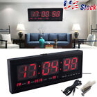 Morden Digital Large Big Digits LED Wall Desk Clock With Calendar Temperature US