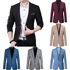Mens Casual Slim Fit One Button Suit Blazer Business Work Coat Jacket Outwear