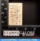 CLUB SCRAP RUBBER STAMP LIMITED EDITION 2464 10779 FORMULAS WORDS BACKGROUND