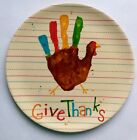 Kids THANKSGIVING TURKEY HAND Give Thanks Evergreen Earthaware Bamboo Plate