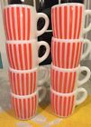 8 VINTAGE HAZEL ATLAS SALMON  ORANGE CANDY STRIPE MILK GLASS MUG CUP