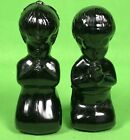 Fenton Black Glass Children Praying Boy Girl Figurines Set