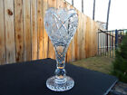 AMERICAN BRILLIANT cut glass LARGE chalice vase stunning thick heavy blank