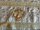 Amazing Antique Mixed Figural Lace French Whitework Embroidery Runner 58L