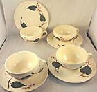 STANHOME IVY Blue Ridge CUP & SAUCER SETS (4 Pr) Hand Painted SOUTHERN POTTERIES