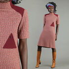 vtg MISS DIOR triangle button KNIT mod shift scooter space age go go dress 70s M