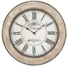 Wall Mounted Clock Distressed French Vintage Design Iron Metal Round Roman Time