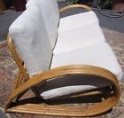 Exceptional Vintage Tropical Mid Century 1940s Rattan Bamboo Sofa Curved Frame