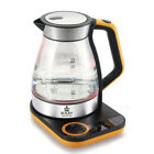 Foley Stainless Glass Premium Portable Electric Tea Milk Coffee Pot Kettle 1.7L
