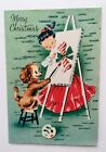 Unused Vintage Christmas Card Pretty Girl Dress Puppy Dog Paint Candy Stocking