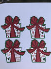 4 Christmas Present Gift Die Cuts Red Green White 3 Layers Scrapbook