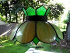 Vintage Hanging Lamp Slag Stained Glass Green Swag Pendant Tulip Tiffany Style