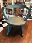 Oh so Sweet Antique Round Child's Rocking Chair with Amazing Crackled Blue Paint