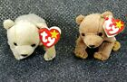 PAIR OF Ty 1999 Born Beanie Babies PECAN & ALMOND  NEW RETIRED!