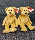 Pair of TY Beanie Babies - Retired CASHEW Bears MWMT TAGS DONT MATCH ERRORS!